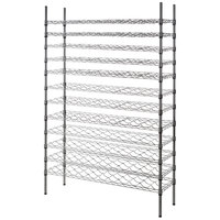 Regency 14 inch x 48 inch 12 Shelf Wire Wine Rack with 74 inch Posts - 132 Bottle Capacity