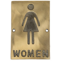 Tablecraft 465634 Women's Restroom Sign - Bronze, 6 inch x 4 inch