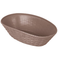 Carlisle 650401 WeaveWear Brown Oval Plastic Serving Basket 9 inch x 6 1/4 inch - 12/Case