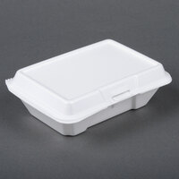 Dart Solo 205HT1 9 inch x 6 inch x 3 inch White Foam Hinged Lid Container 100 / Pack