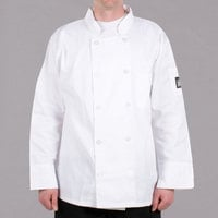 Chef Revival Bronze J100-S Size 36 (S) Customizable White Double-Breasted Chef Coat - Poly-Cotton Blend