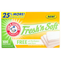 Arm & Hammer 100 Count Fresh 'n Soft Perfume and Dye Free Fabric Softener Dryer Sheets - 6 / Case