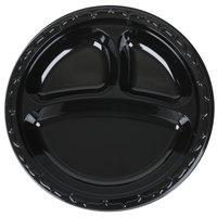 Genpak BLK39 Silhouette 9 inch 3 Compartment Black Premium Plastic Plate   - 100/Pack