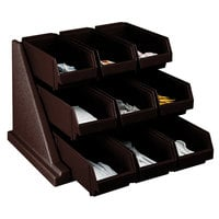 Cambro 9RS9131 Dark Brown Versa Self Serve Condiment Bin Stand Set with 3-Tier Stand and 12 inch Condiment Bins