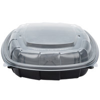 51 oz. Black 9 inch x 9 inch x 3 inch Microwaveable Plastic Hinged Take-Out Container   - 28/Pack