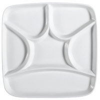CAC CMP-SQ8 8 1/2 inch Bright White China Square Crown 6 Compartment Tasting Tray - 24/Case