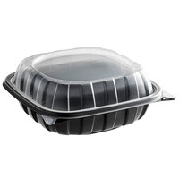 8 inch x 8 inch x 3 inch Microwaveable 1-Compartment Plastic Hinged Container   - 46/Pack