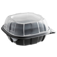6 inch x 6 inch x 3 inch Microwaveable Plastic Hinged Container   - 57/Pack