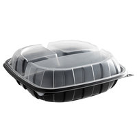 10 inch x 10 inch x 3 inch Microwaveable 3-Compartment (27 / 11 / 11 oz.) Plastic Hinged Container  - 37/Pack