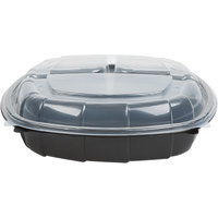 10 inch x 10 inch x 2 3/4 inch (27 / 11 / 11 oz.) Microwavable 3 Compartment Clamshell Take-Out Container - 37/Pack