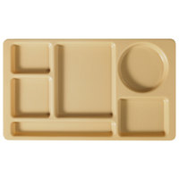 Cambro 915CW133 Camwear (2 x 2) 8 3/4 inch x 15 inch Beige Six Compartment Serving Tray - 24/Case