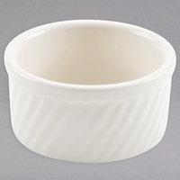 Hall China 498-WH Ivory (American White) 8 oz. Swirl Souffle Dish   - 24/Case