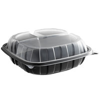 9 inch x 9 inch x 3 inch Microwaveable 3-Compartment (22 / 9 / 9 oz.) Plastic Hinged Container  - 28/Pack