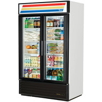 True GDM-43-HC-LD White Two Swing Glass Door Refrigerated Merchandiser with LED Lighting - 40.6 Cu. Ft.