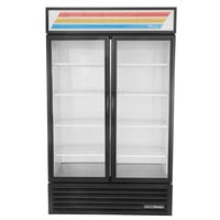 True GDM-43-HC~TSL01 Black Two Swing Glass Door Refrigerated Merchandiser with LED Lighting - 40.6 Cu. Ft.