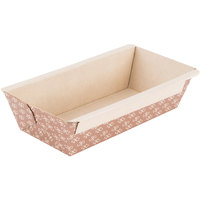 Solut 31906 1 lb. Bake and Show Corrugated Kraft Oven Safe Paper Bread Loaf Pan - 370/Case