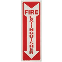 Buckeye Glow-In-The-Dark Fire Extinguisher Adhesive Label - Red and White, 12 inch x 4 inch