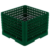 Vollrath PM1412-6 Traex Plate Crate Green 14 Compartment Plate Rack - Holds 10 3/4 inch to 12 5/16 inch Plates
