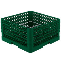 Vollrath PM1211-4 Traex Plate Crate Green 12 Compartment Plate Rack - Holds 8 3/4 inch to 9 3/16 inch Plates