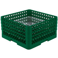 Vollrath PM3208-4 Traex Plate Crate Green 32 Compartment Plate Rack - Holds 7 5/8 inch to 8 inch Plates