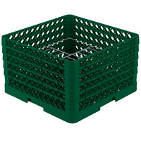 Vollrath PM1510-5 Traex Plate Crate Green 15 Compartment Plate Rack - Holds 9 inch to 10 3/4 inch Plates