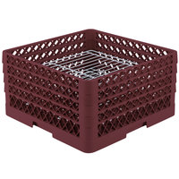 Vollrath PM3208-4 Traex Burgundy 32 Compartment Plate Rack - 7 5/8 inch-8 inch