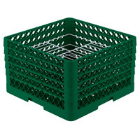Vollrath PM2110-5 Traex Plate Crate Green 21 Compartment Plate Rack - Holds 9 3/16 inch to 10 inch Plates