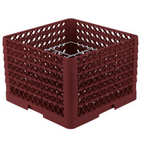 Vollrath PM1211-6 Traex Burgundy 12 Compartment Plate Rack - 10 3/4 inch-11 3/16 inch