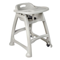 Lancaster Table & Seating Gray Stackable High Chair with Tray and Wheels (Ready to Assemble)