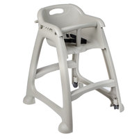 Lancaster Table & Seating Ready-To-Assemble Gray Stackable Restaurant High Chair with Tray and Wheels