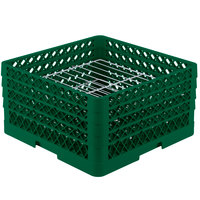 Vollrath PM2209-4 Traex Plate Crate Green 22 Compartment Plate Rack - Holds 7 inch to 8 3/4 inch Plates