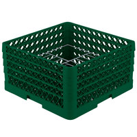 Vollrath PM1510-4 Traex Plate Crate Green 15 Compartment Plate Rack - Holds 8 3/4 inch to 9 3/16 inch Plates