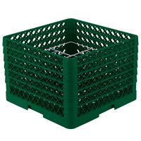 Vollrath PM1211-6 Traex Plate Crate Green 12 Compartment Plate Rack - Holds 10 3/4 inch to 11 3/16 inch Plates