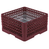 Vollrath PM3008-4 Traex Burgundy 30 Compartment Plate Rack - 8 inch-8 3/8 inch