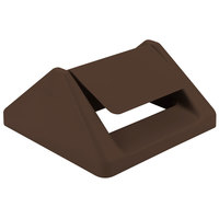 Continental T1600BN 16 inch Brown Square Swing Top Lid for 25 and 32 Gallon Swingline Containers