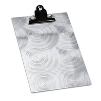 4 1/4 inch x 11 inch Menu Solutions ALSIN41-CLIP Metal Clipboard Menu Board with Swirl Finish