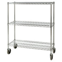 Rubbermaid FG9G7900CHRM Chrome Three Shelf Mobile Rack 18 inch x 38 inch x 48 1/4 inch