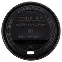 Dart Solo TLB316-0004 Traveler Black Dome Hot Cup Lid with Sip Hole - 100 / Pack