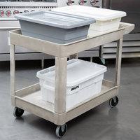 rubbermaid beige 500 lb two shelf utility cart 26 x 45 14