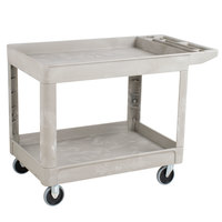 Rubbermaid FG452089BEIG Beige 500 lb. Two Shelf Utility Cart 26 x 45 1/4 x 33 1/4
