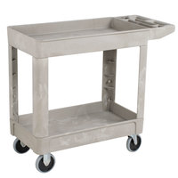 Rubbermaid FG450089BEIG Beige Small Lipped Two Shelf Utility Cart with Extended Handle