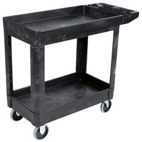 Rubbermaid FG450089BLA Black Small Lipped Two Shelf Utility Cart with Extended Handle
