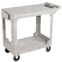 Rubbermaid FG450589BEIG Beige Small Flat HD Two Shelf Heavy Duty Utility Cart with Extended Handle