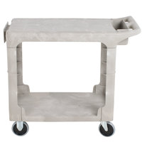 Rubbermaid FG450589BEIG Beige Small HD Two Flat Shelf Heavy Duty Utility Cart
