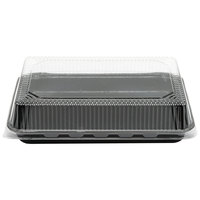 Solut 9 inch x 13 inch Bake and Show Quarter Size Paperboard Black Sheet Pan and Clear Dome Lid Combo Kit   - 10/Pack