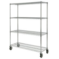Rubbermaid FG9G8000CHRM Chrome Four Shelf Mobile Rack - 18 x 50 x 67