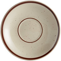 Choice 6 inch Brown Speckle Narrow Rim Stoneware Saucer - 36/Case