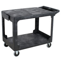 Rubbermaid FG452589BLA Black Medium Flat HD Two Shelf Heavy Duty Utility Cart with Extended Handle