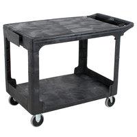 Rubbermaid FG452589BLA Black Medium Flat HD Two Shelf Heavy Duty Utility Cart with Extended Handle