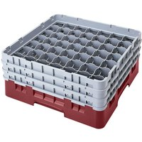 Cambro 49S638163 Red Camrack 49 Compartment 6 7/8 inch Glass Rack